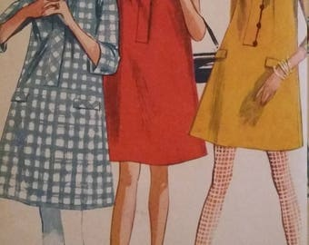 Vintage Simplicity Sewing Pattern Size 12 One-Piece Dress in Two Lengths