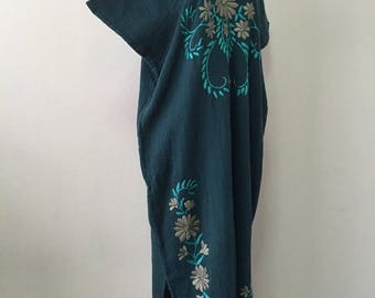 Hand Embroidered Dress Cotton Maxi Dress, Long Dress, Boho Dress