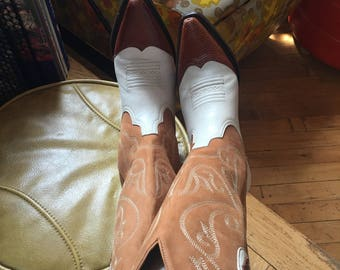 Western Vintage Women's Leather Cowboy Boots Size 6 1/2 M