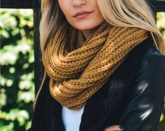 Chunky Braided Infinity Scarf- Mustard