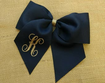 """Monogram Cheer Bow, Back to School, Uniform Bow, First Day of School, Large 7"""" Bow, You Choose Colors, Personalized"""