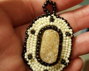 Ivory and Bronze Rose Quartz Bead Embroidered Pendant