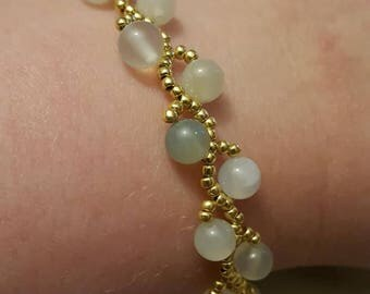 Jade and Gold Elvish Vine Style Bracelet