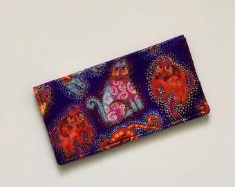 Purple Cat Checkbook Cover, Laurel Burch Checkbook Cover, Fabric Checkbook Cover, Checkbook Case, Checkbook Holder