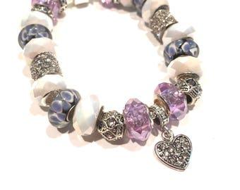 Varigated Lavender Murano Glass Beads w Rhinestones Euro Bracelet
