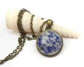 "Small Round Sodalite Necklace, Blue and Gray Gemstone Necklace Pendant, 24"" Boho chic necklace"
