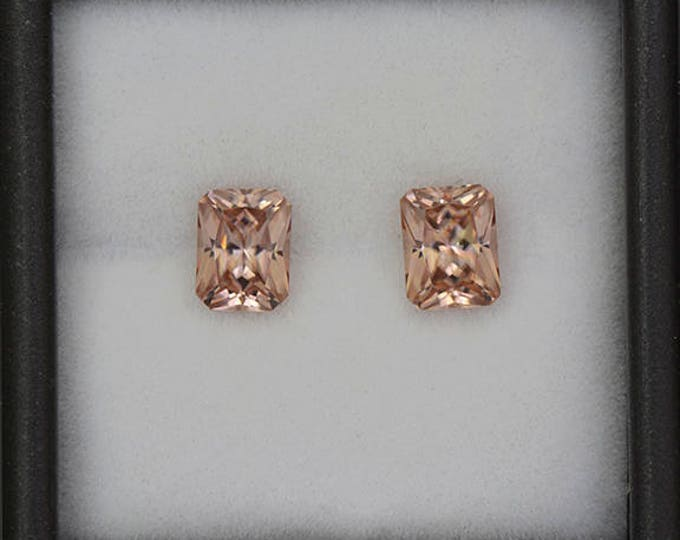 Scintillating Bright Peach Zircon Gemstone Match Pair from Tanzania 2.89 tcw.