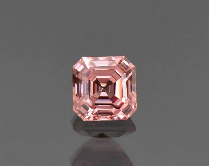 Excellent Pink Champagne Zircon Asscher Cut Gemstone, 6.6 mm., 2.31 cts.