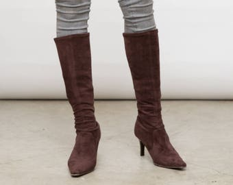 Brown Tall Boots, Brown Sock Shoes, 90s High Heels, Pointy Toe Shoes, Size 39 EU, UK 6, US 8.5