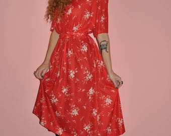 Vintage 80s Red White Floral Short Sleeve Boho Maxi Dress