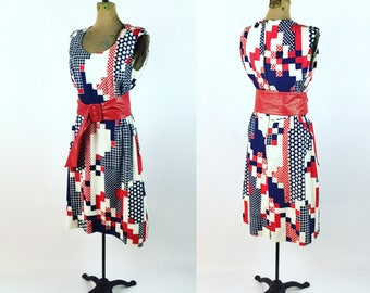 1960s Paolino Dress Vintage Red White Blue Twill Dress 1960s Sleeveless Dress by Paolino Fourth of July Patriotic Dress Colorful 1960s Dress