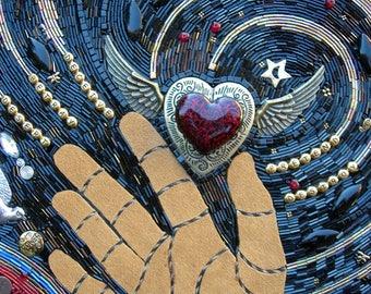 "Beaded Mosaic Art - ""Thief of Hearts"" - Rustic Shadowbox Frame"