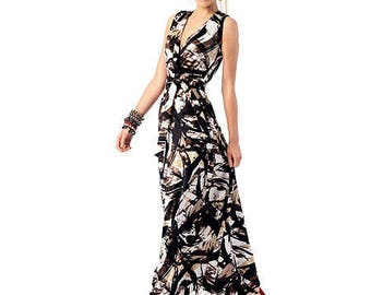 Knit, Mock Wrap, Maxi Dress Pattern by Fashion Star, McCall's M 6700 Size 16-18-20-22-24