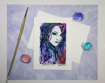 Dragonfly Girl Greeting Card, Watercolor Art Portrait Note Card, Unique Handmade Card, Birthday Card, Thank You Card, Card for Friend, 5x7