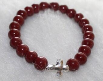 Boho Beaded Bracelet: Red Beads with Silver Cross