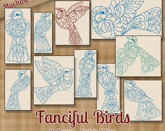 Fanciful Birds Machine Embroidery Patterns / Designs - 5 Sizes - 10 Designs - Ornate decorative birds for quilts, kitchen towels, tote  bags