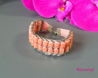 "Peach fancy ""Capsule"" Velvet Ribbon double Cuff Bracelet"
