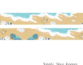 "NEW ""Beach"" Washi Tape - 30mm x 7m - Coastal Summer Vacation Seashore Ocean Waves Sand Beach Umbrellas"