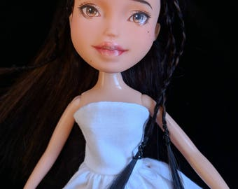 Repainted Natural Bratz Doll Upcyled Chinese Make Under Custom Doll Repaint Makeunder OOAK Outfit Dress Shoes