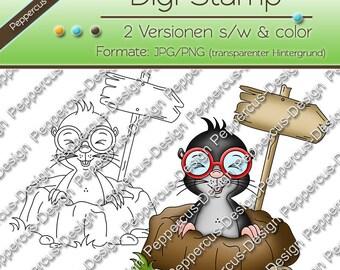 Digi stamp set Mole with shield / E0167