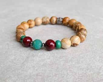 Picture Jasper Bracelet - Meditation Gift - Mala Bracelet - Energy Bracelet - Wrist Mala - Yoga Jewelry - Meditation Bracelet - Item #377