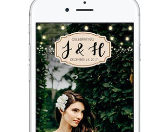 Wedding Geofilter Snapchat Filter, Classic Rustic Wedding Personalized Geofilter, String Lights Winter Fall Summer Wedding Beautiful Snap