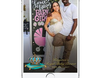 Royal Baby Shower Snapchat Geofilter, Crown Baby Shower Party Accessories Snapchat Filter, Glamorous Boy Girl Baby Shower Geotag Confetti