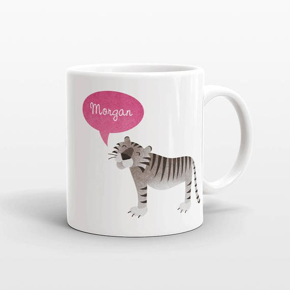 Custom Name Mug, Tiger Mug, Personalized Mug, Unique Coffee Mug, Office Mug, Best Friend Gift, Birthday Gift, Cute Animal Lover Gift