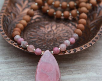 The Healing Mala - Pink Rhodochrosite Rosewood Meditation Inspired Yoga Beads/ BOHO chic / Mala Beads