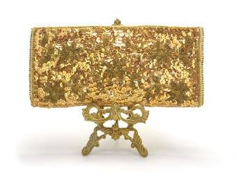 FREE SHIP! Vintage Gold Seqin Clutch - Gold Metallic Purse - Handbag Wallet - Wedding Accessories Black Tie Events - Bride Bridesmaid Gift