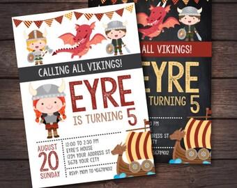 Viking Birthday Invitation, Girl Birthday Invitation, Dragon Birthday Invitation, Dragon Party, Viking Ship Invitation, 2 options, DIGITAL