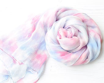 Pastel silk scarf | hand dyed silk scarf | soft blue rose grey colors