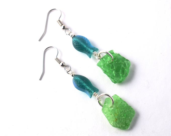 Rhode Island Crazed Green Sea Glass with Iridescent Teal Glass Fish on Sterling Silver Wire, Stainless Steel or Sterling Silver Ear Wires