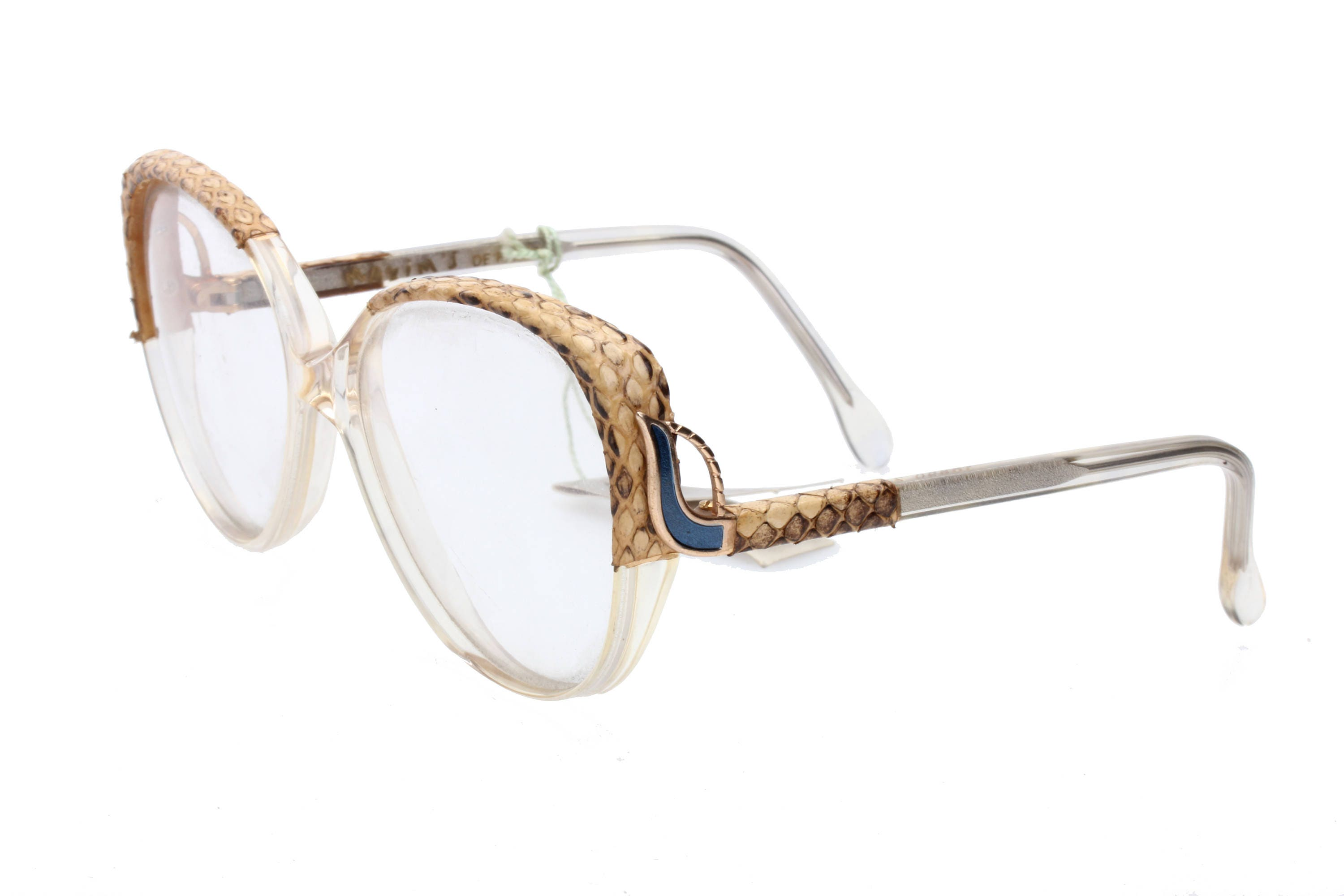 ab5264d1034 Maxim de Paris vintage clear oversized ladies eyeglasses frames with real  python leather inserts
