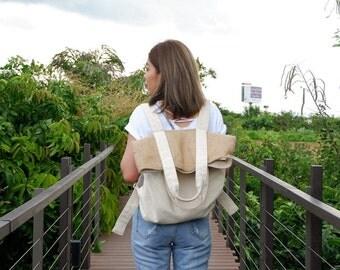 Large Canvas - Sackcloth Backpack - Shoulder Bag