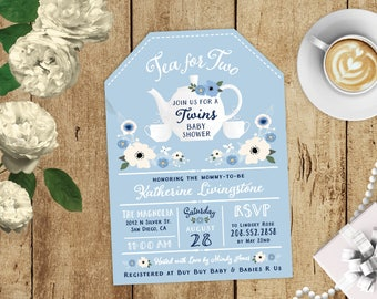 Twin Tea for Two Floral Tea Bag Twins Baby Shower High Tea Party Invitations - Pink, White, BlueCUSTOM COLORS - Tea Cup Pot Printed Invites