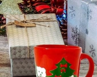 Waechtersbach Christmas Coffee Mug, Christmas Holiday Mug, German Teddy Bear Christmas Mug