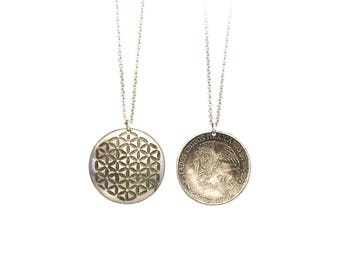 Flower of Life Necklace. Etched Coin necklace. Flower of life charm. Sacred geometry necklace. Sacred geometry charm