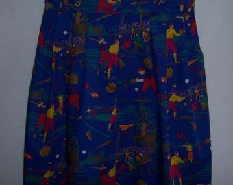 Vintage Alexander Campbell Royal Blue Red Green Baseball Players Print Cotton Maxi Long Skirt 8 10 Medium Deadstock NWT NOS