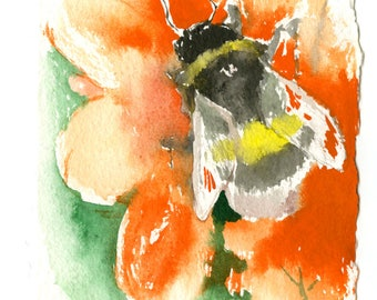 Bumblebee Painting, original watercolor art, handmade feather decked paper painting, 6.5 x 10. in