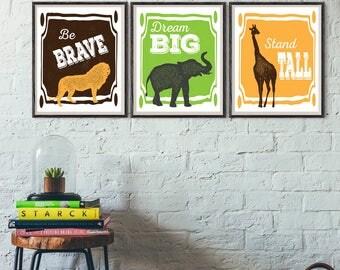 Be Brave, Dream Big, Stand Tall PRINT, Jungle Animals theme, Boy Nursery Decor, Nursery Quote, Boy Wall Art, Kids Wall Art, Playroom decor