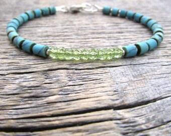 August Birthstone Bracelet, Peridot Bracelet, Turquoise Bracelet, Peridot Jewelry, Bead Bracelet, Stack Bracelet, Gem Bracelet, August Gift