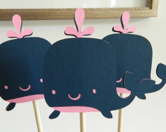 3 Whale Centerpiece Sticks Pink Whale Table Decorations  Pink Whale Baby Shower Pink Whale Centerpiece Navy Whale First Birthday • Set of 3