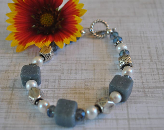 Leland Blue Stone bracelet with sterling silver, pearls and crystals