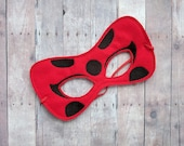 Ladybug Felt Mask, Elastic Back, Red Acrylic Felt With Embroidered Black Dots, Halloween Costume, Photo Booth Prop, Cosplay, Dress Up