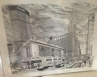 Vintage Delbart Duchein Lithograph New York City Pan Am Building