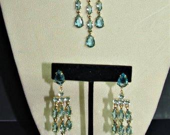 Audrey Hepburn SET - Blue Crystal Necklace with Drop Earrings by Camrose & Kross