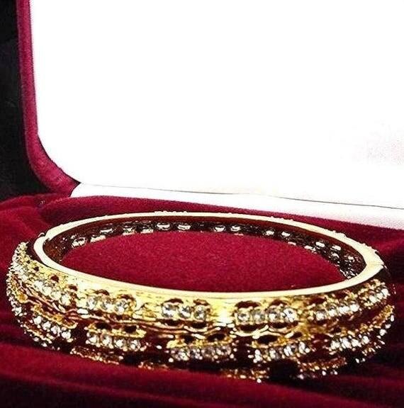 Jackie Kennedy Bangle 24k Gp Hinged Bracelet With Crystal