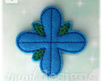 """4 Petal Blue Troll Hair Flower Feltie Digital Design File - 1.75"""""""