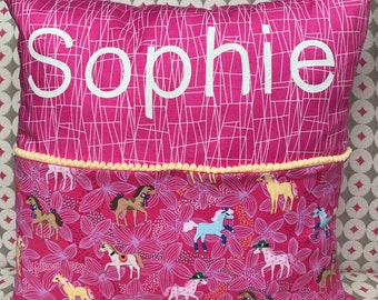 Girls personalised reading pillow with pockets